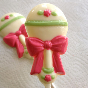 24 Baby Girl Rattle Baby Shower Chocolate Lollipop Favors Homemade