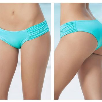Mapale 6851 Waistband Ruched Panty Swimsuit Bottom Color Aqua