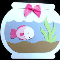 Pink or Blue Fish in a Fishbowl Shaped Card - Fishbowl Card - Pink Fish - Blue Fish - Birthday Card