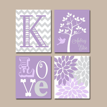Lavender Gray Nursery Wall Art, Canvas or Prints, Love Tree, Girl Name, Baby Girl Nursery Artwork, Girl Bedroom Pictures Set of 4 Crib Decor