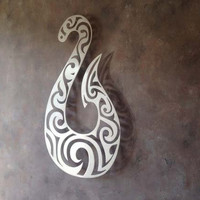 Hei Matau Fish Hook Metal Wall Art - Tiki Art - Protection - Tribal Art - Strength - Metal Art - Wall Art