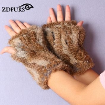 FXFURS 2017 Hot sale New Women's 100% Real Genuine Knitted Rex Rabbit Fur Winter Fingerless Gloves Mittens Arm Sleeve
