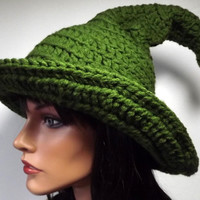 Elf Hat Crochet-  Santa's Helper- Green Elf Hat Witch Hat Wizard Hat Cosplay Yuletide Pointy Adult Hat