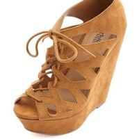 SUEDED LACE-UP GHILLIE WEDGE