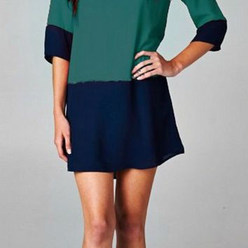 A Glass of Wine by the Fire Tunic Dress - Green and Navy