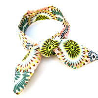 Neon Flower Bun Wrap Top Knot Tie Wired Hair Accessory for Buns or Pony Tails Wrist Wrap Yellow Peach White Teal Teen Women Hair Accessory