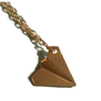 One Direction Necklace - Gold Paper Airplane Charm - Harry Styles Inspired, Perfect Teen Girl Gift
