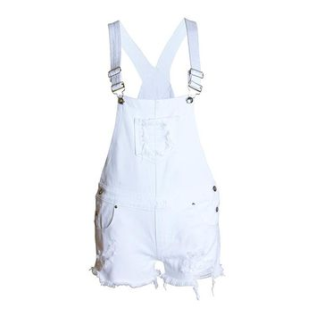 KL867 Top quality summer women hole suspenders overalls girls loose jean high waist denim shorts femme