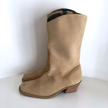 Dr Scholl's women's tan suede cowboy boots with cushion sole sz 9