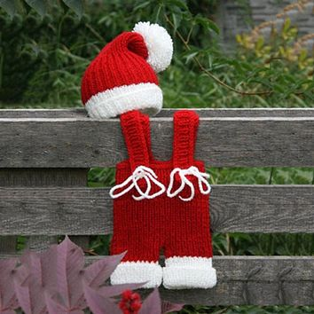 Newborn Baby Photography Props Infant Knit Crochet Costume Christmas Santa Claus Outfits Romper Hats baby Shower Gift