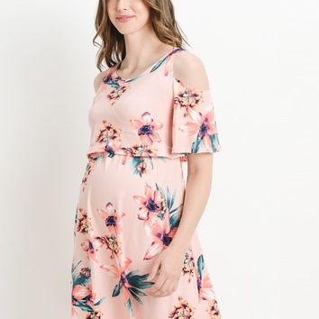 Blush Floral Cold Shoulder Maternity & Nursing Dress
