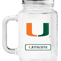 Miami Hurricanes Mason Jar Glass With Lid