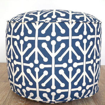 Dark blue pouf ottoman dorm room ideas, round bean bag cushion, nursery glider, blue and beige foot rest kids room decoration