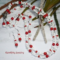 Red Coral & White Howlite 22 inch 2-strand Necklace set