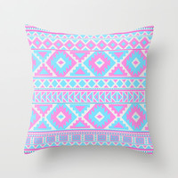Tribal Art Pattern Throw Pillow pink blue cover by tjc555 | Society6