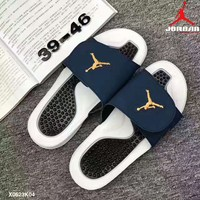 NIKE Jordan summer Holiday leisure sport slippers shoes Black white soles-gold logo H-PSXY