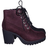 Second Lug Sole Combat Bootie w Chunky Block High Heel