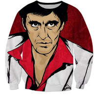 Newest Movie Scarface Character Al Pacino 3d sweatshirt Women/men Harajuku Vintage Crewneck Hoodies Pullovers Casual Outerwear