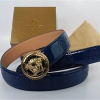 Versace Belt With Gold Buckle, Genuine Blue Leather Belt
