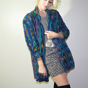 1980s 80s tribal colorful blue rainbow coat 1990s 90s fashion hipster goth soft grunge urban outfitters