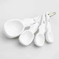White Ceramic Pineapple Measuring Spoon Set