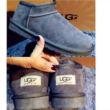 UGG Short boots antiskid warm lazy sheep fur ugg boots pure color Grey