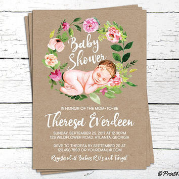 Baby Shower Invitation // Personalized Digital Decorative Baby Girl Shower Craftpaper Invitation // Baby Girl Shower // Baby Shower