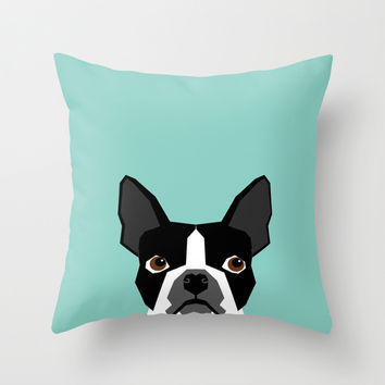 Logan - Boston Terrier pet design with bold and modern colors for pet lovers Throw Pillow by PetFriendly