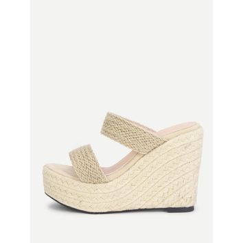 Woven Design Wedge Sandals