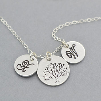 Tree of Life Necklace, Family Tree Necklace, Mother Necklace, Personalized, Silver, Gold, Rose Gold Personalized Disc Necklace