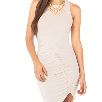 Beige Sleeveless Asymmetrical Hem Bodycon Dress