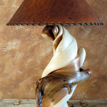 Wood Table Lamp, Rustic Wooden End juniper Table Lamps, Log Home Lighting