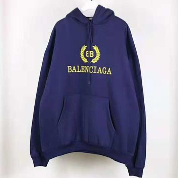 Balenciaga Autumn Winter Popular Women Men Casual Print Hoodie Sweater Pullover Top Sweatshirt Purplish Blue
