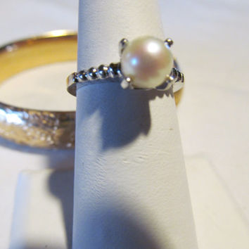 Solitary Mermaid Promise Pearl Ring 14 kt White Gold Akoya Cultured Salt Water Pearl Jewelry Engagement Ring