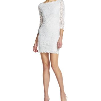 Adrianna Papell Scalloped Lace Sheath Dress | Dillards