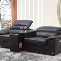 Divani Casa Donovan Modern Black Italian Leather Recliner Sofa With Wine Cabinet