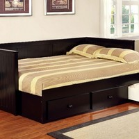 CM1927BK Wolford collection black finish wood frame full size day bed with drawers