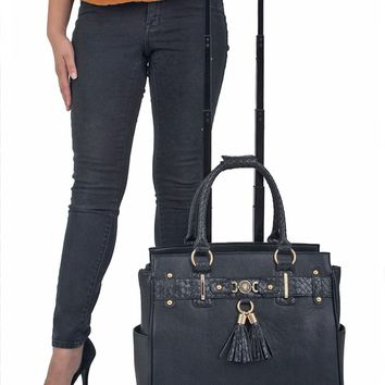 """THE BERKELEY"" Rolling Laptop Tote Bag Briefcase Carryall Bag With Spinner Wheels"