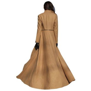 PEAPUNT Korean Fashion Fall Winter Women Maxi Coat Long Sleeve Chaquetas Mujer Zipper Ladies Work Casual Wool Long Peacoat Hot Sale