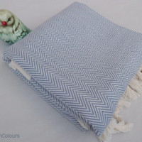 Gray colour zig zag patterned Turkish peshtemal bath towel, beach towel, spa towel, travel towel, baby blanket.