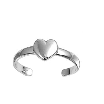 Sterling Silver Heart 5MM  Toe Ring/ Knuckle/ Mid-Finger