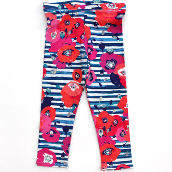 Baby girl clothes, baby girl leggings, baby girl pants, girls leggings, baby girl, baby leggings, toddler leggings, navy floral leggings