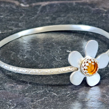 Sterling Silver Dainty Flower Bangle with Amber Gemstone