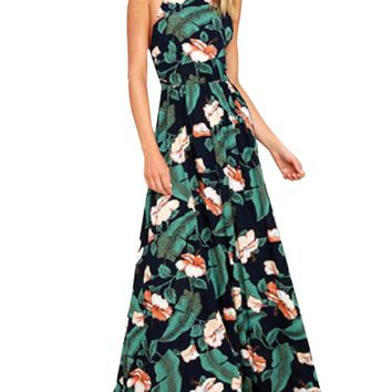 Blooming Jelly New Women Floral Maxi Dress Long Boho Halter Strap Summer Beach Dresses Sexy Backless Pleated Dress Vestidos