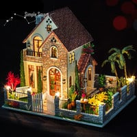 Miniature Dollhouse  DIY Kit Love Apartment with Voice Control Light and Music Box Cute Room House Model