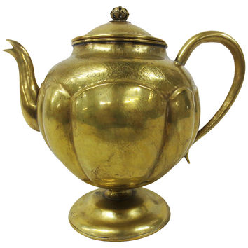 Early Engraved Brass Teapot