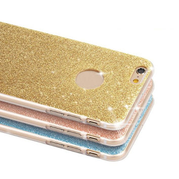 Luxury Fashion Glitter Bling Phone Case For Apple iPhone 5 5S SE 6 6S 7 Plus 7Plus Shine Protector Soft Back Cover TPU Bumper
