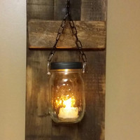 Rustic Wood Candle Holder, Rustic  Decor,  sconce candle holder, Rustic Lantern, Mason Jar wood candle,  Candle holders  priced 1 each