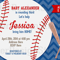Baseball Baby Shower Invitation - Digital File