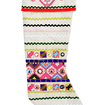 Neon Folk Canvas Stocking